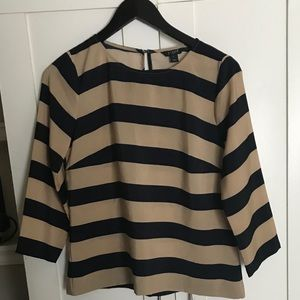 J CREW, navy and tan striped blouse